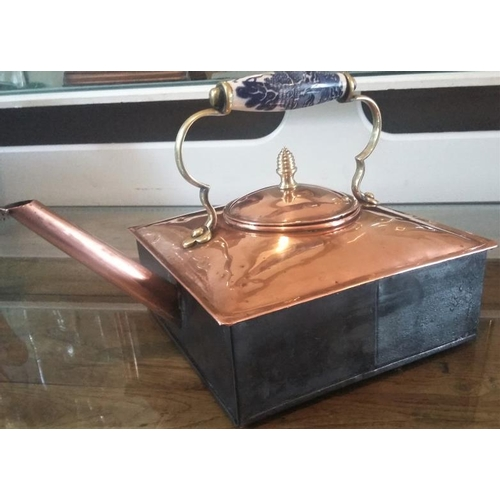 668 - Vintage Square Copper Kettle with ornate Ceramic Handle - 8