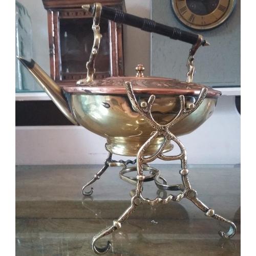 671 - Vintage ornate Copper & Brass Kettle on ornate Brass Stand - 10