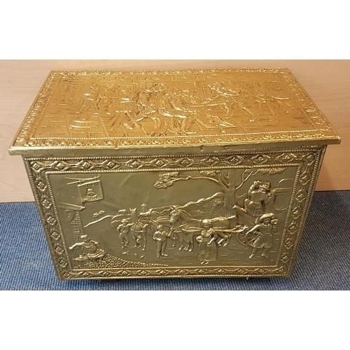 682 - Polished Brass 'Tavern' Scene Fireside Fuel Box, c.18in wide...