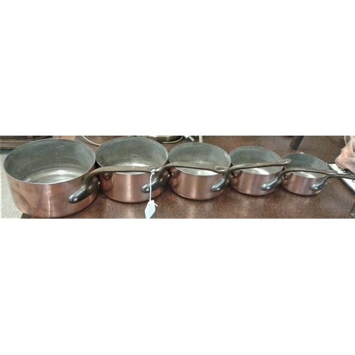 702 - Set of Five Graduating Copper Saucepans...