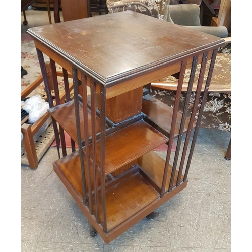 711 - Edwardian Mahogany Revolving Bookcase, c.19in wide, 35in tall...