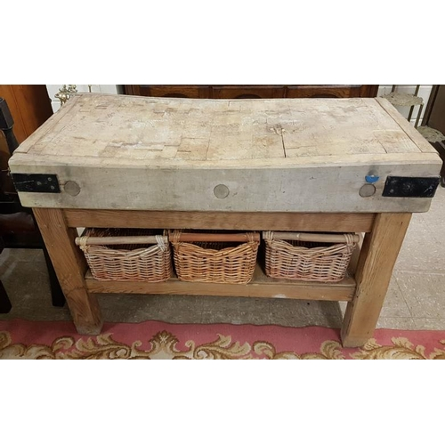 715 - Butchers Block and Baskets, c.4ft x 33in tall...