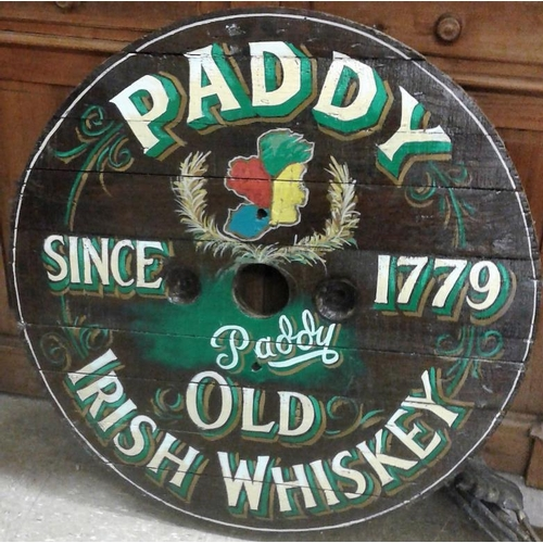 102b - Circular 'Paddy Irish Whiskey' Wooden Sign, c.32in diameter...