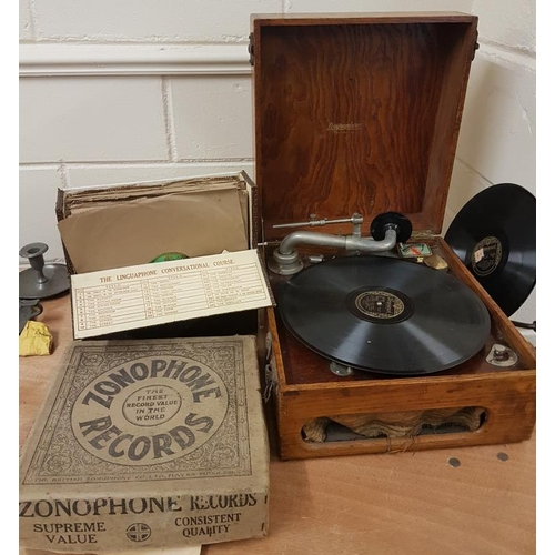 88a - Linguaphone Gramophone, a Set of 'Irish Course' records and a Box of Records...
