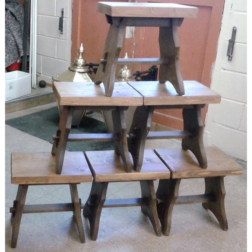 67b - Set of Six Hand Made Wooden Stools, c.16 x 16.5in...