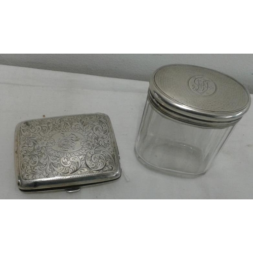 346 - Silver Cigarette Case, Hallmarked Birmingham c.1907, c.82grams along with a hallmarked silver topped...