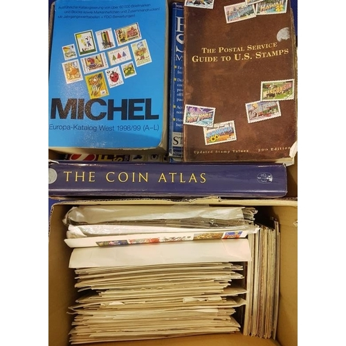 6 - Collection of Postcards, First Day Covers, Stamp Catalogues and Stamp Magazines - 2 boxes...
