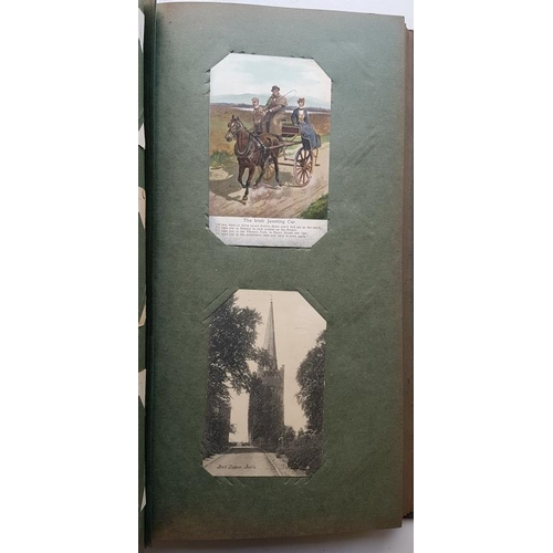 13 - Attractive Victorian Post Card Album with 120 old Irish cards...