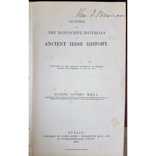 21 - <em>'Ancient Irish History'</em> by Eugene O'Curry M.R.I.A., Dublin 1861...