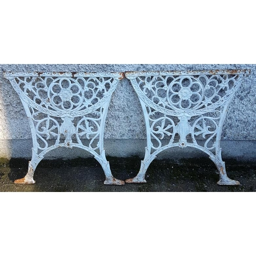2 - Pair of Heavy Cast Iron Garden Table Ends, c.25in tall...