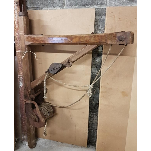 7 - Traditional Wooden Pulley Block and Frame etc, c.45in wide, 69in tall...