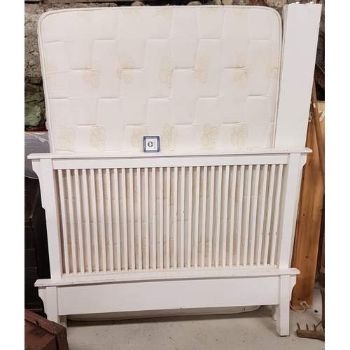 11 - White Wooden Double Bed - 5ft...