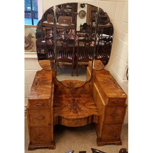 27 - Art Deco Burr Walnut Bedroom Suite - Wardrobe (48 x 78in), Tallboy (30 x 55in) and Dressing Table (4...