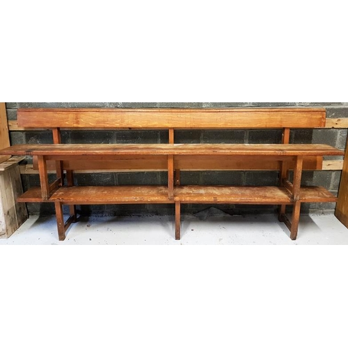 32 - Pair of 20th Century Church Pews, each c.114in long...