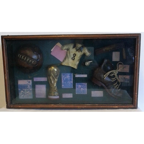 33 - Display Case of Football Items - 20 x 11ins...