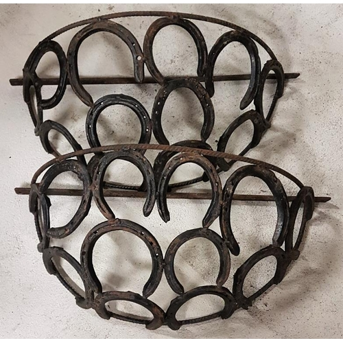 36 - Pair of Horseshoe Wall Planters, c.24in wide...