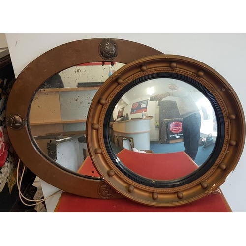42 - Gilt Convex Wall Mirror and an Arts & Crafts Copper Frame Mirror c. 18in diam and 24.5 x 20.5in ...
