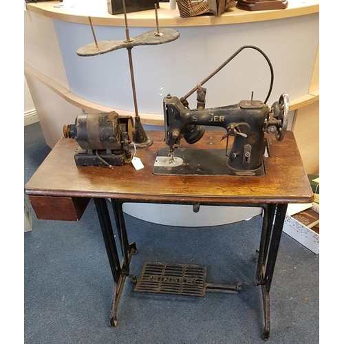 45 - Industrial Sewing Machine and Motor, c.36in wide...