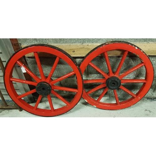 146 - Two Small Irish Cart Wheels, c.25.5in diam and 24.5in diam...
