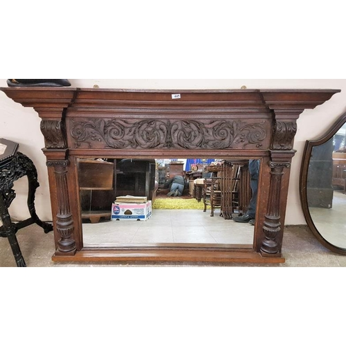 361 - Late Victorian Carved Oak Overmantle Mirror, c.58 x 35in...