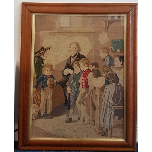 362 - Framed Tapestry Panel <em>First Day Of School</em> within a walnut frame (c.31 x 39in)...