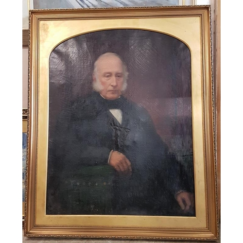 363 - Large Oil on Canvas Portrait Of A Gentleman within a decorative gilt frame...