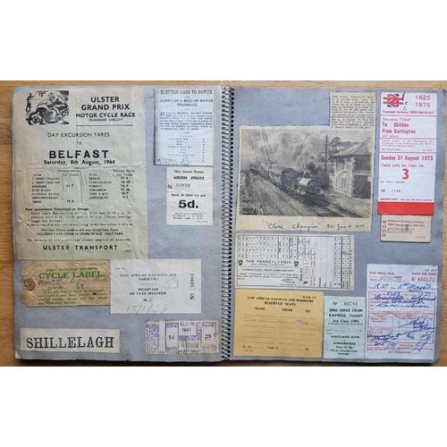 9 - Irish Railwayana Scrap Book, Strabane & Letterkenny Railway Co., County Donegal Railwys, tickets...