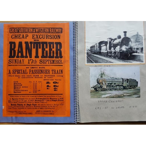 10 - Irish Railwayana Scrap Book, images of Irish Stations & Locomotives, Great Northern Railway tick...