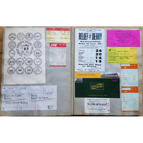 13 - Irish Railwayana Scrap Book, tickets, correspondence, notices etc....