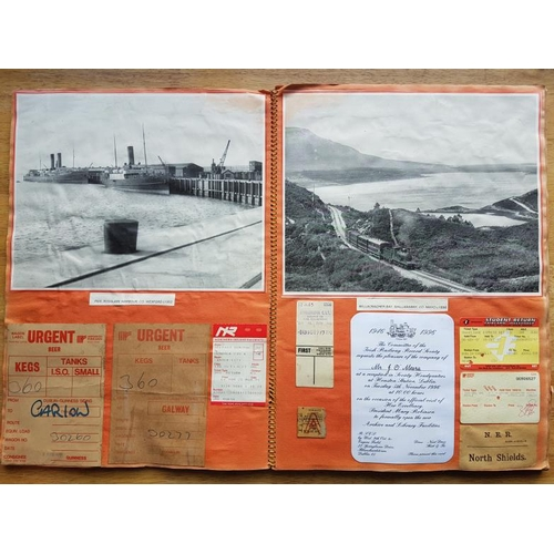 14 - Irish Railwayana Scrap Book, tickets, correspondence, images, excursion notices etc....