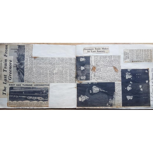 15 - Irish Railwayana Scrap Book, tickets, newspaper cuttings, notices etc....
