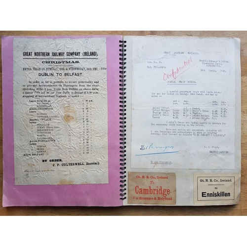 16 - Irish Railwayana Scrap Book, Belfast & County Down Railway Notices, tickets, correspondence, not...