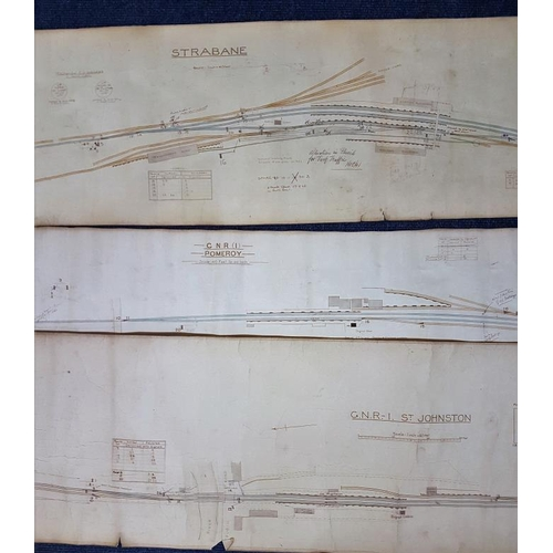 28 - Three Station Diagrams - Strabane, Pomeroy and St. Johnston, largest c.90 x 16in...