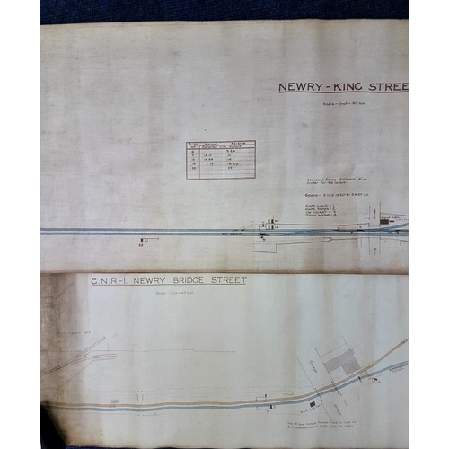 29 - Two Hand Drawn and Coloured Line Diagrams - Newry King St. and Newry Bridge St., GS & WR, larges...