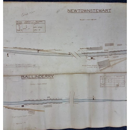 31 - Two Station Diagrams - Newtownstewart and Ballinderry, largest 68 x 12in...