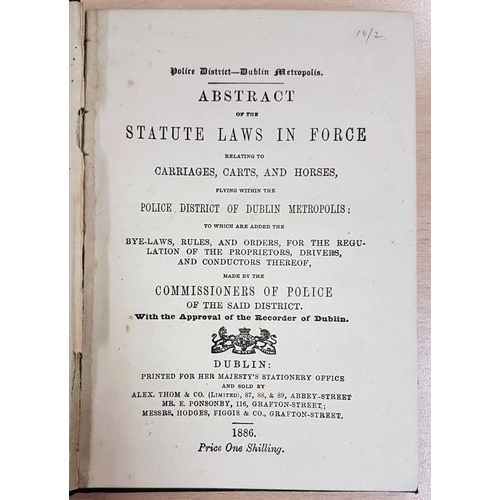 38 - Dublin Police Carriage Fares and Bye-Laws 1886...