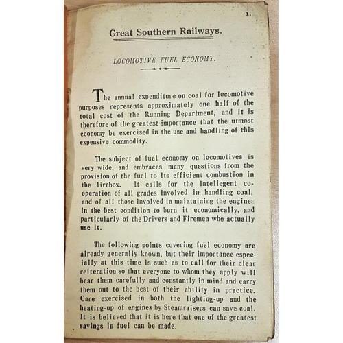 45 - Great Southern Railways - Instruction for the Economical Ose of Locomotive Fuel, Coal Commission 193...