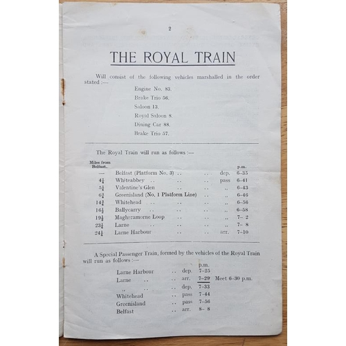 46 - LMS Northern Counties Committee, Notice of Royal Special Train, Conveying His Royal Highness from Be...