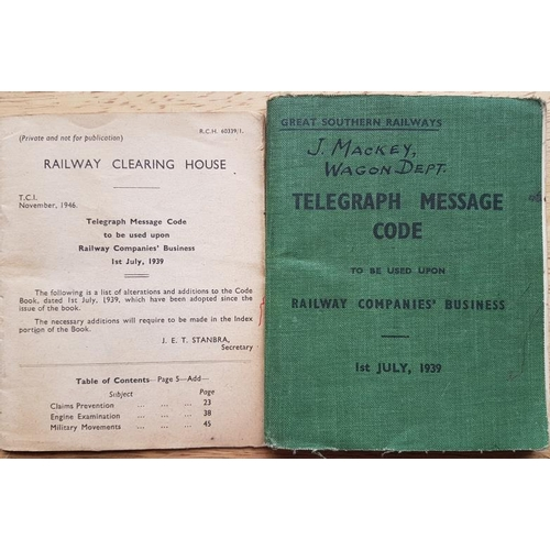 48 - Great Southern Railways, Telegraph Message Code, 1st July 1939...