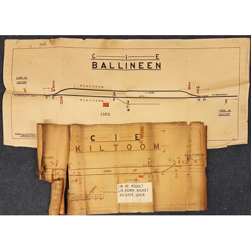 54 - Two CIE Station Line Diagrams, hand coloured - Ballineen and Kiltoom, largest c.40 x 18in...