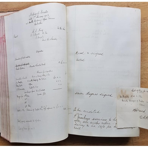 85 - Blessington and Poulaphuca Steam Tramway Co. Meeting of Directors Minute Book c.1896...