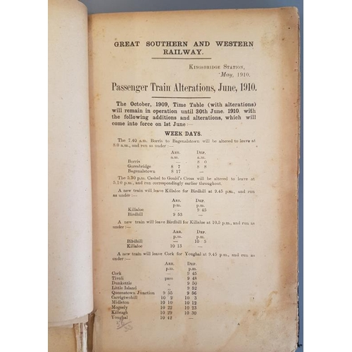 114 - Great Southern & Western Railways Working Time Table from June 1910 with bound in alterations...