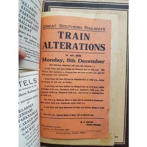 127 - Great Southern & Western Railway - Time Table 1927, with other relevant material bound in and fo...