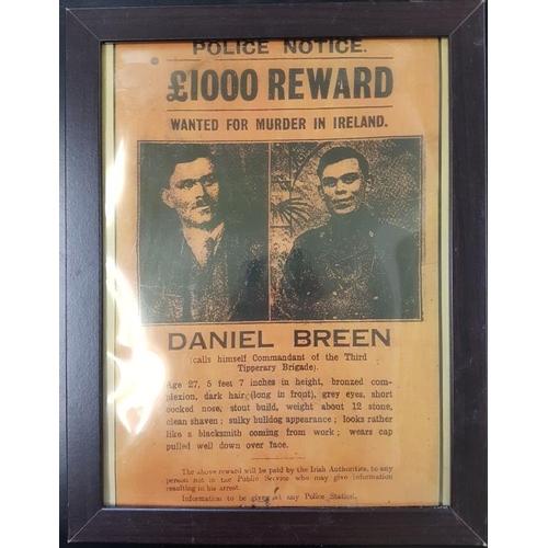 16 - Framed Copy of Reward Poster for Dan Breen - 14 x 18ins...