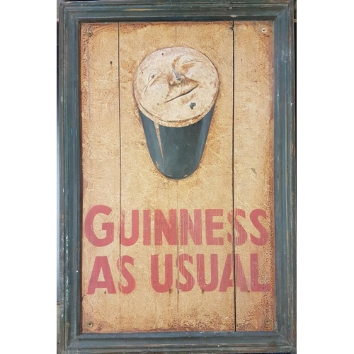 19 - Large '<em>Guinness as Usual'</em> Painted Wooden Sign - 22 x 33ins...