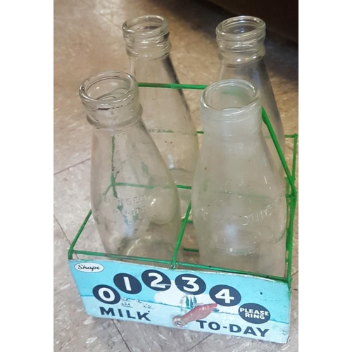 36 - Vintage Glass Milk Bottle Holder with Bottles...