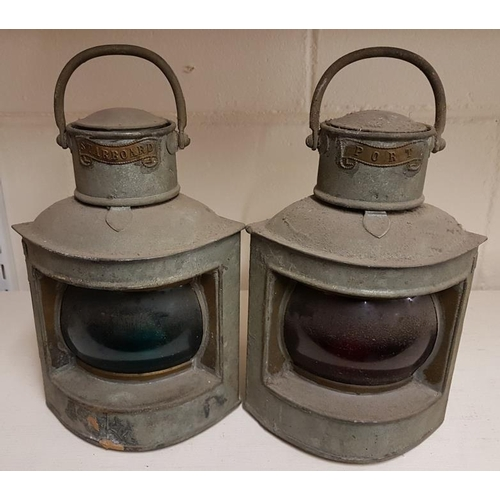 47 - Pair of Copper Starboard and Port Corner Lanterns...