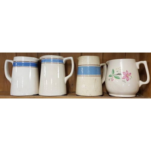 59 - Three Blue Band Dresser Jugs and One Other...