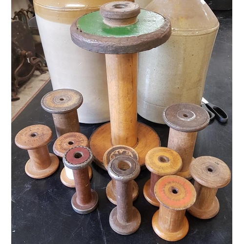 64 - Collection of Various Wooden Thread/Wire Spools...