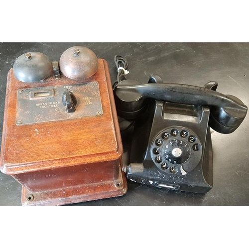 75 - Vintage Black Bakelite Telephone and Extension Box...
